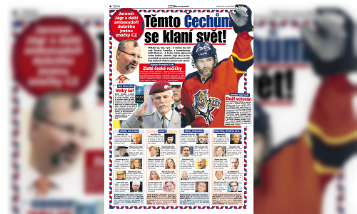A screenshot of the Blesk article on 43 Czechs the whole world is talking about