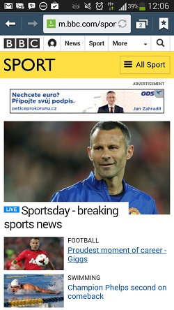 ODS advert on the BBC Sport site