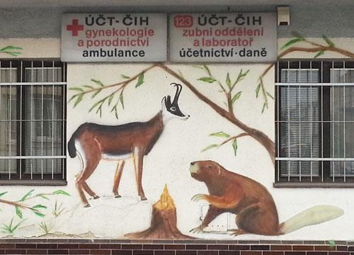 Beaver mural outside Prague 11-Chodov polyclinic