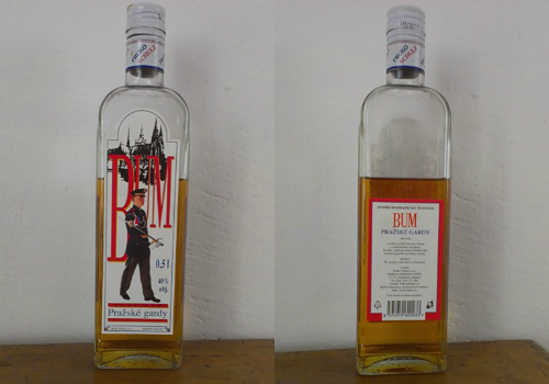 "Front and rear photos of a bottle ""Bum"" tuzemak"