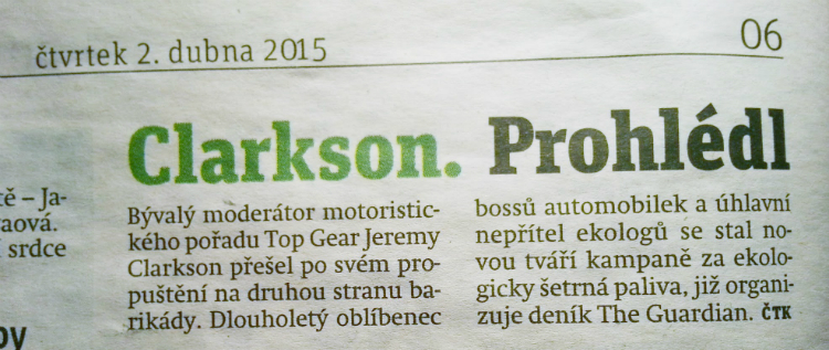 Photo of Metro article about Jeremy Clarkson
