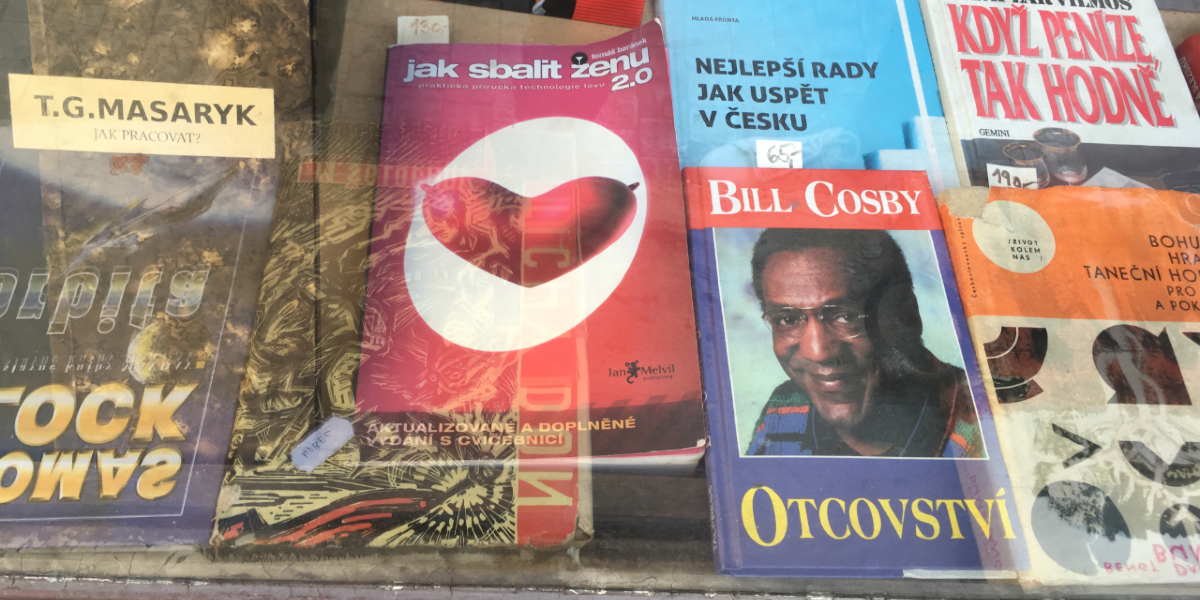 New Town bookshop displays How to Pick Up a Woman 2.0 next to Bill Cosby book