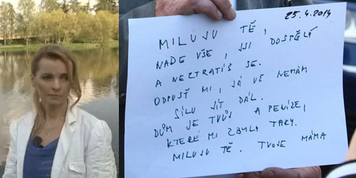 Iveta Bartošová and her suicide note
