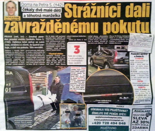 Prague police ticket parked car with murdered taxi driver inside