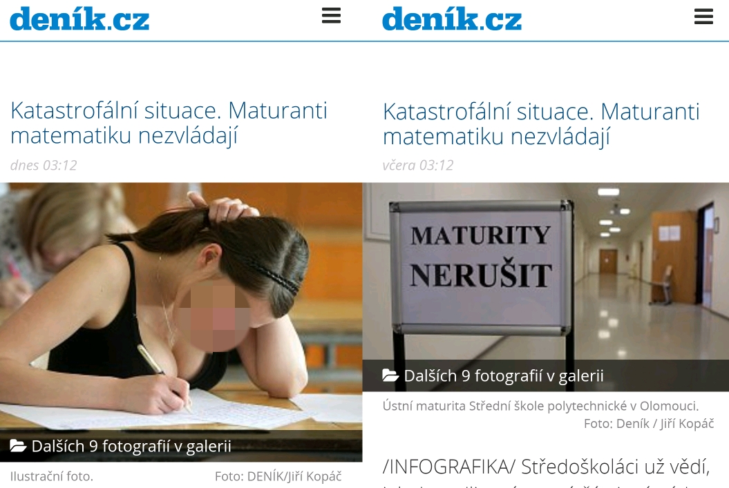 Screenshots of the Denik.cz website before and after the image change