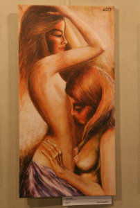 "Photo shows an uncensored version of ""Cas nezanosti"" (""Time of Endearment""), a painting by Karel Gott"