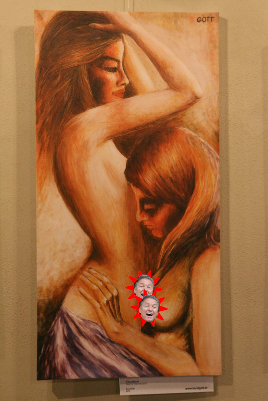 "Photo shows a censored version of ""Cas nezanosti"" (""Time of Endearment""), a painting by Karel Gott"