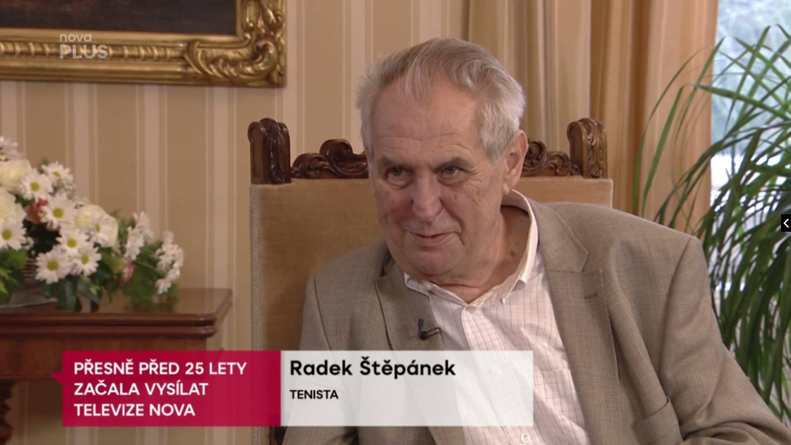 President Miloš Zeman misidentified as tennis player Radek Štěpánek in TV Nova caption